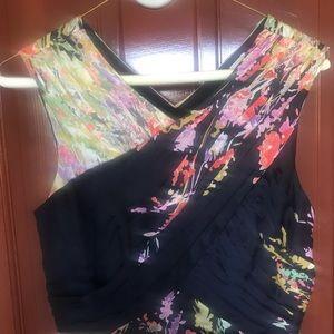Navy blue floral silk Carlos Miele ball gown